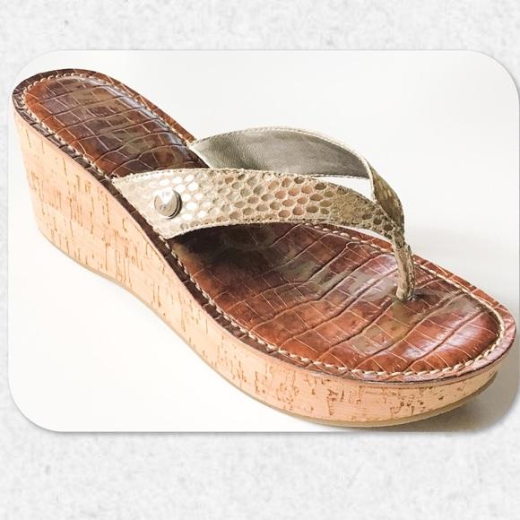 72159ce61c8d47 Sam Edelman Romy Metallic Platform Wedge Sandals. M 5b0c9365c9fcdf1bac07423c